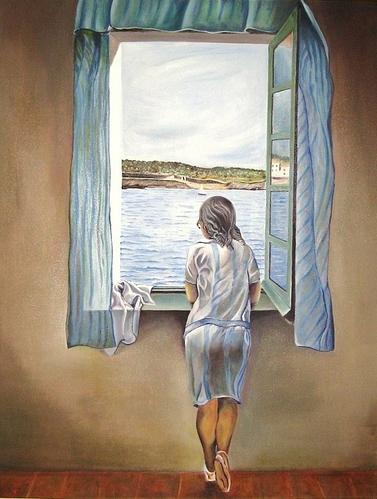 Muchacha en ventana por Dali